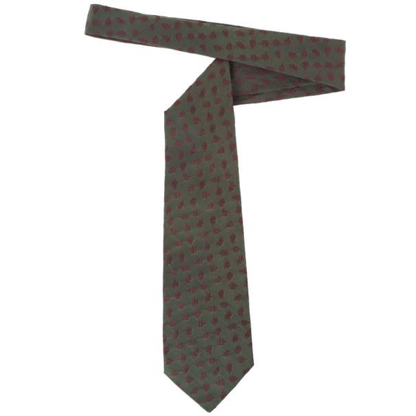 Salvatore Ferragamo Green Burgundy Silk Tie