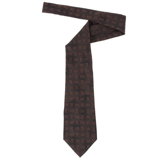 Valentino Brown Printed Silk Tie