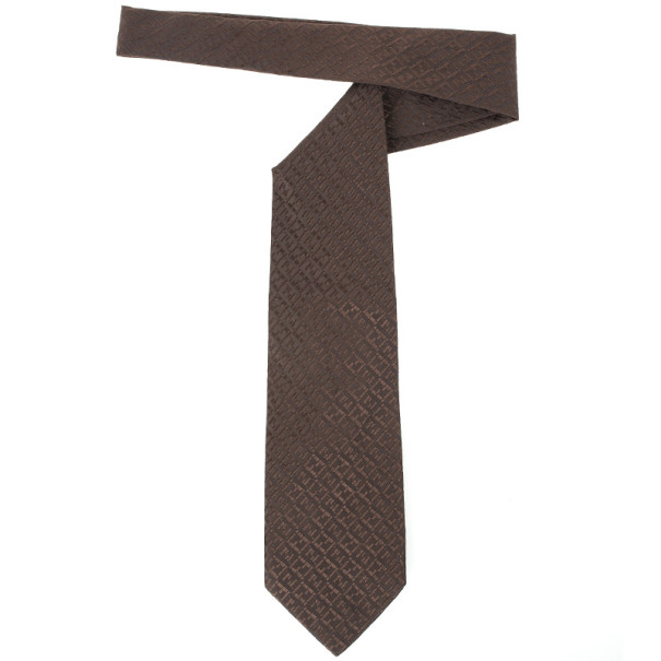 Fendi Dark Brown Zucchino Monogram Tie