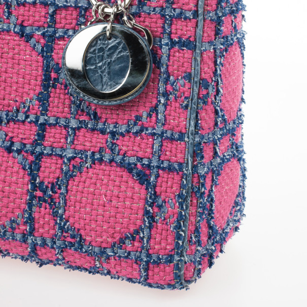 Christian Dior Pink and Blue Tweed Medium Lady Dior Tote