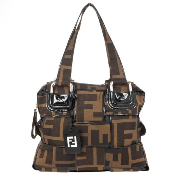 Fendi Zucca Canvas Woven Crossword Bag