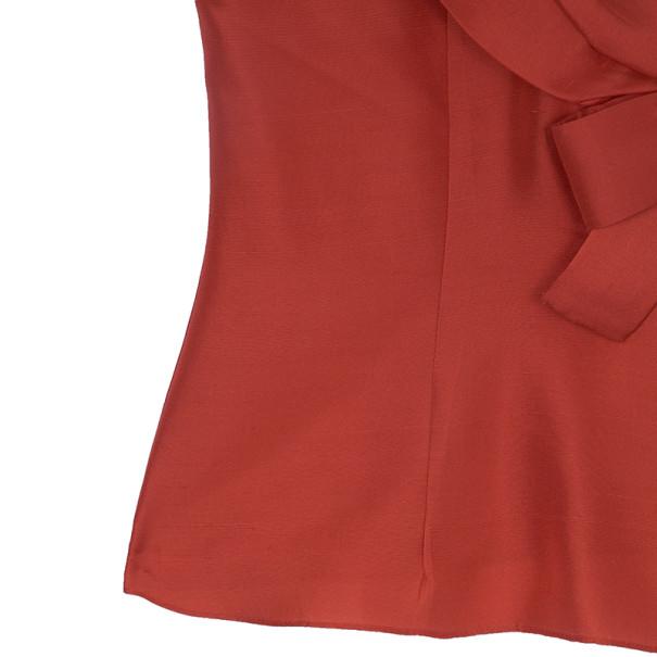 Oscar de la Renta Red Silk Bow Top S