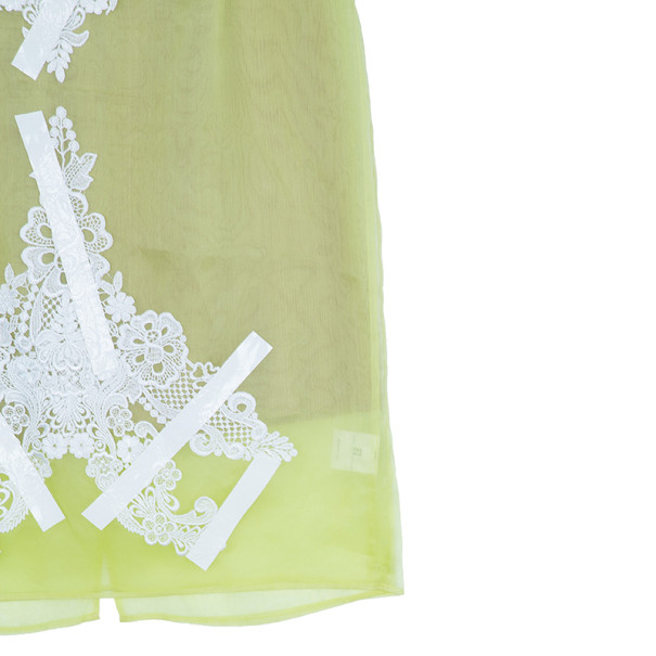 Christopher Kane Yellow Silk Skirt with Lace Appliqué M
