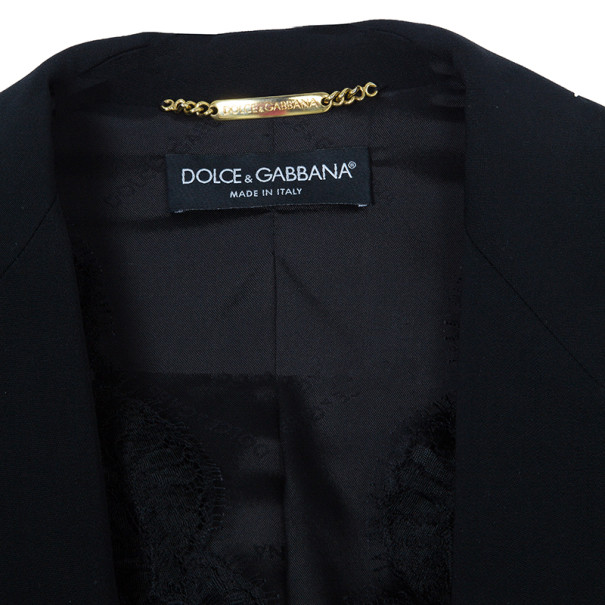Dolce and Gabbana Black Blazer With Lace Insert S
