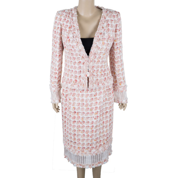 Oscar de la Renta Peach Tweed Skirt Suit M