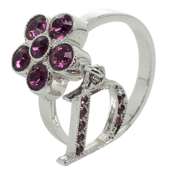Christian Dior Mini Flower Purple Ring Size 50