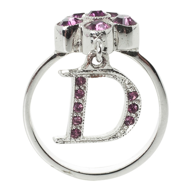 Christian Dior Mini Flower Purple Ring Size 50