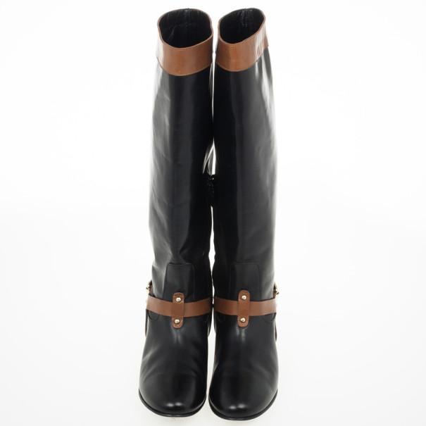 Carolina Herrera Black & Brown Leather Knee Length Boots Size 38