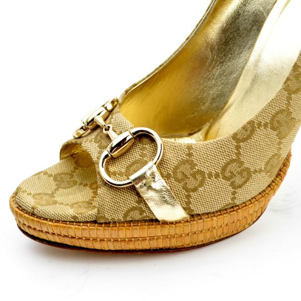 Gucci Guccissima Canvas Horsebit Peep Toe Platform Pumps Size 40.5
