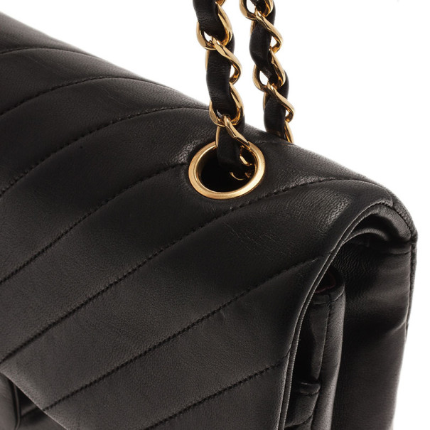 Chanel Black Lambskin Chevron Flap Shoulder Bag