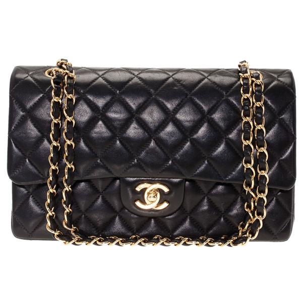 Chanel Black Lambskin Double Flap Medium Shoulder Bag