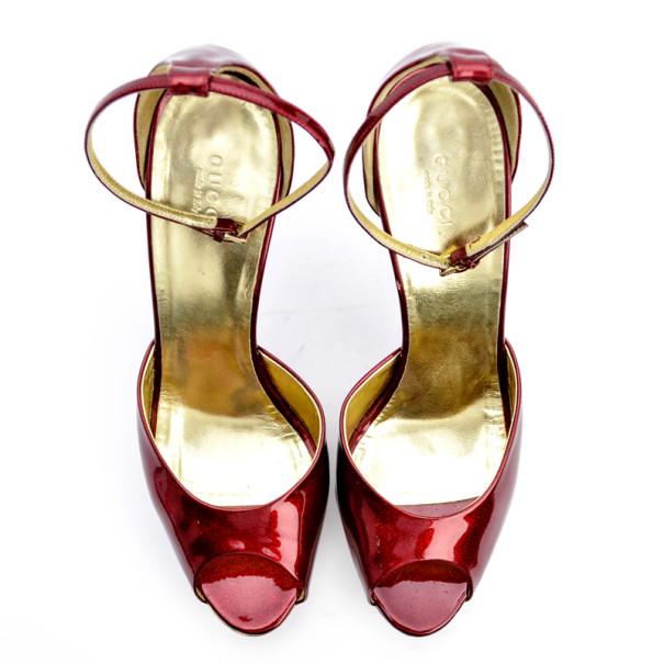 Gucci Red Metallic Platform Sandals Size 41