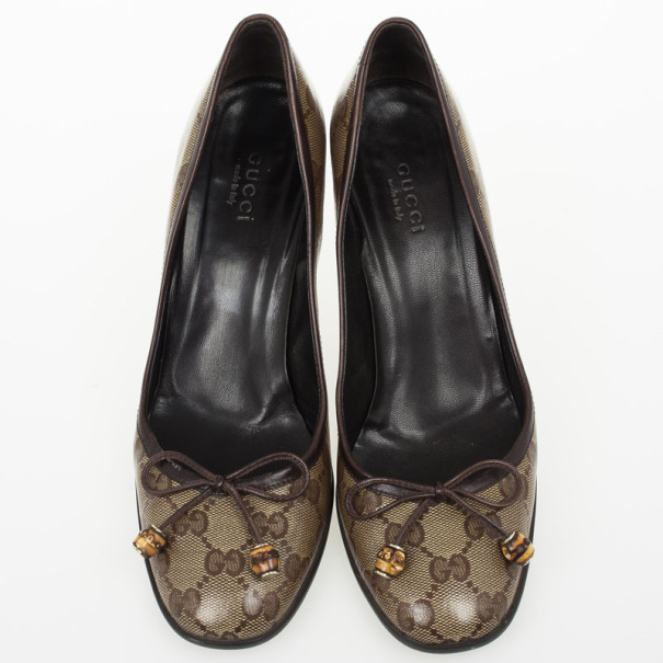 Gucci Guccissima Crystal Bow Pumps Size 37