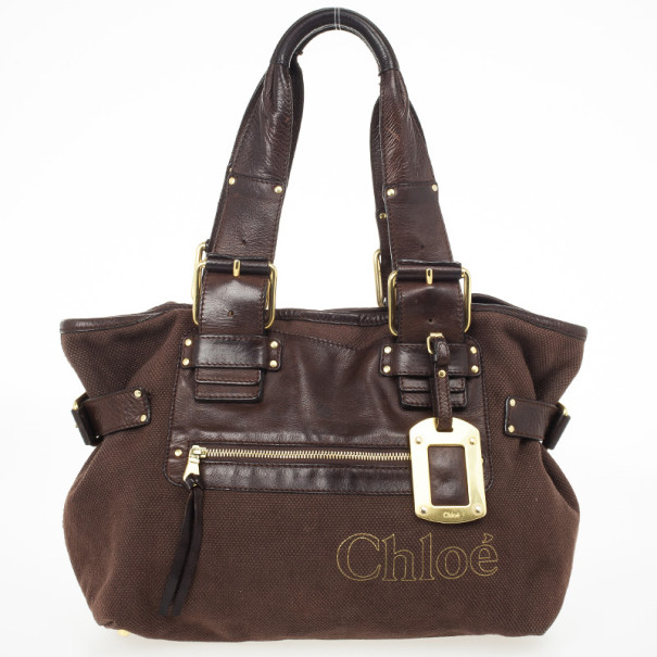 Chloe Brown Medium Canvas Tote