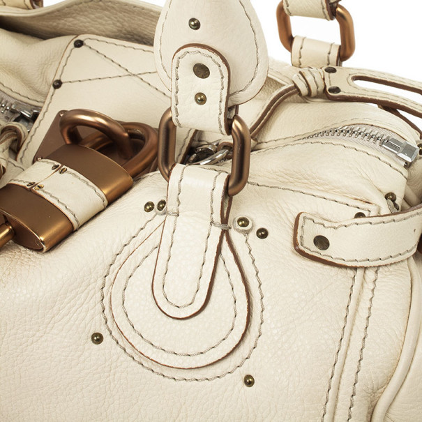 Chloe Cream Leather Paddington Satchel