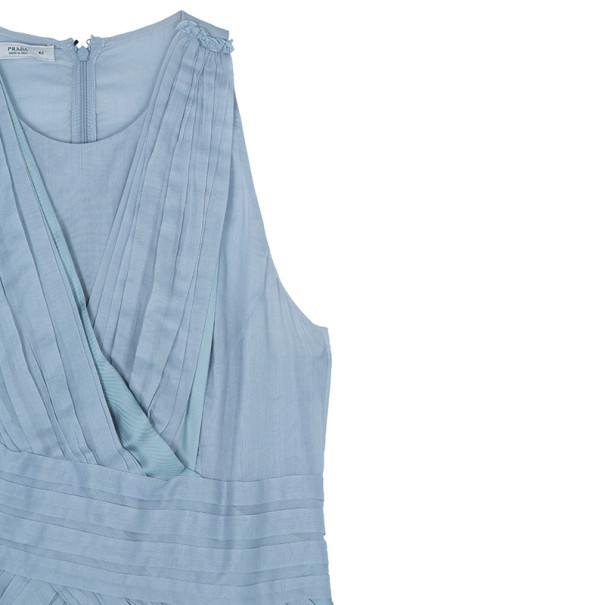 Prada Light Blue Cotton Gathered Dress M