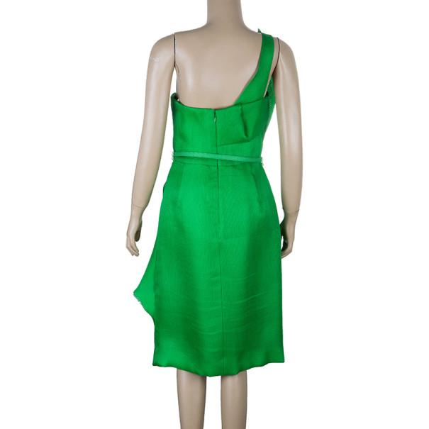 Oscar de la Renta Green Kelly Basketweave Silk-gazar Dress M