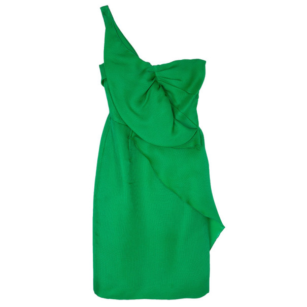 Oscar De La A Green Kelly Basketweave Silk Gazar Dress M Nextprev Prevnext