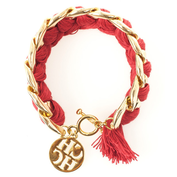 Carolina Herrera Red Cotton Gold Plated Bracelet