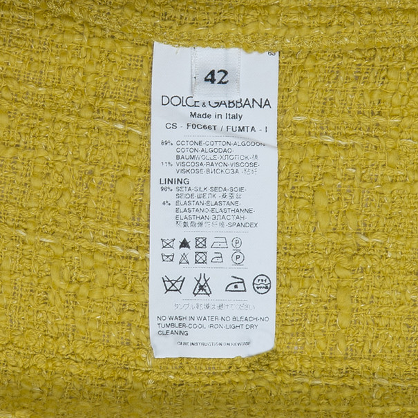 Dolce and Gabbana Yellow Tweed Coat M