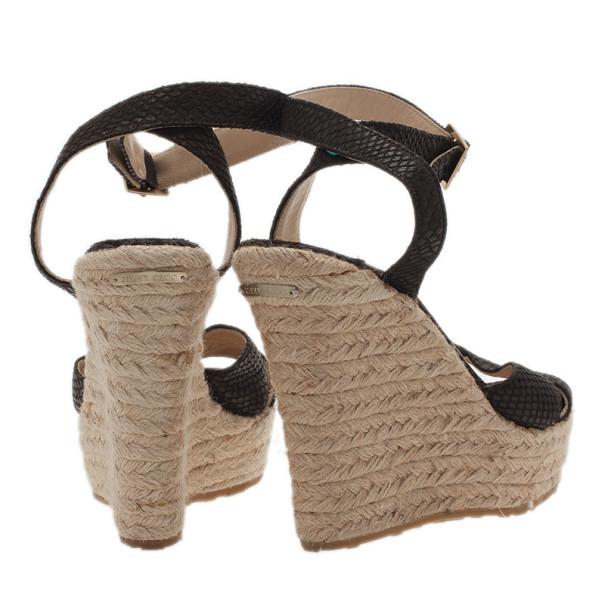 Jimmy Choo Dark Brown Snake Embossed Leather Phoenix Espadrilles Wedges Size 38
