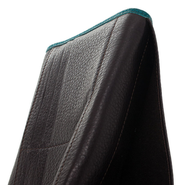 Carolina Herrera Teal Embossed Leather Continental Wallet