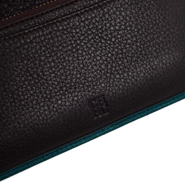 Carolina Herrera Teal Embossed Leather Continental Wallet