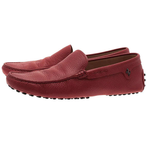 Tod's for Ferrari Red Leather Loafers Size 40