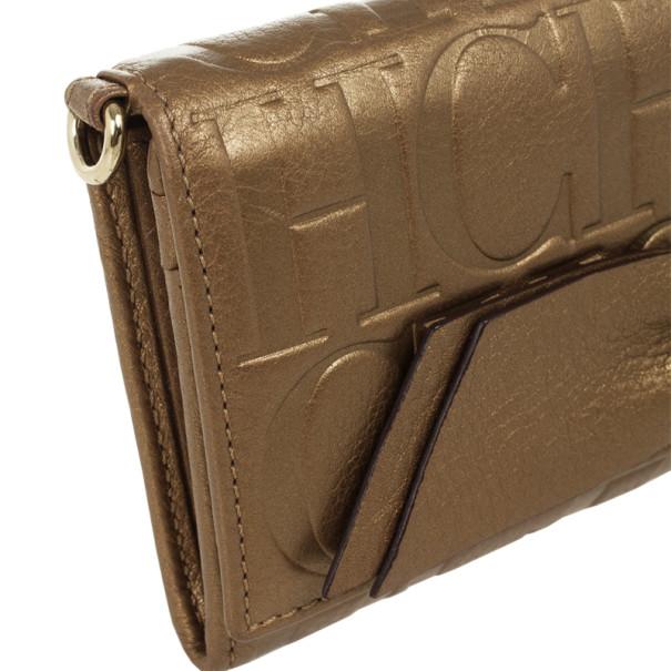 Carolina Herrera CH Bronze Leather Gigi Continental Wallet