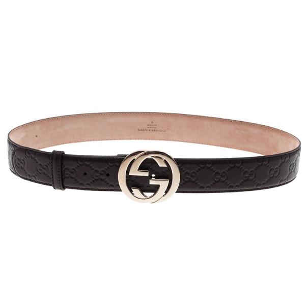 Gucci Guccissima Brown Leather Interlocking G Buckle Belt 95CM