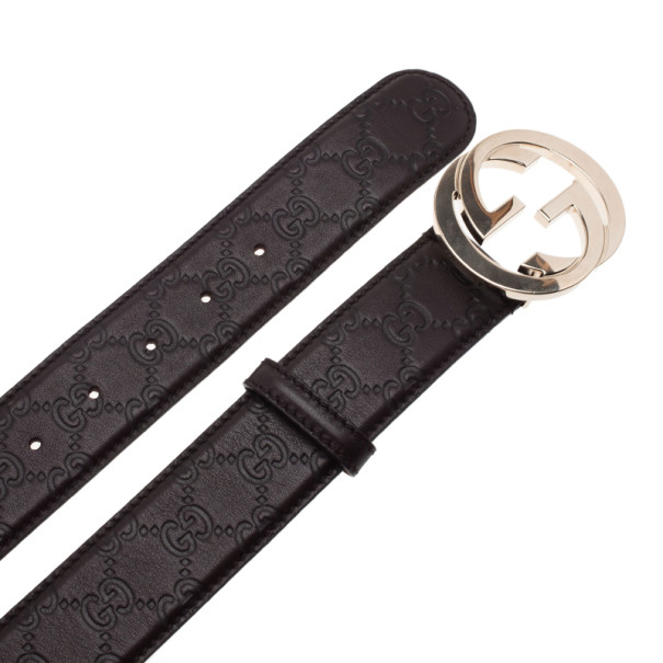 Gucci Guccissima Brown Leather Interlocking G Buckle Belt 95CM