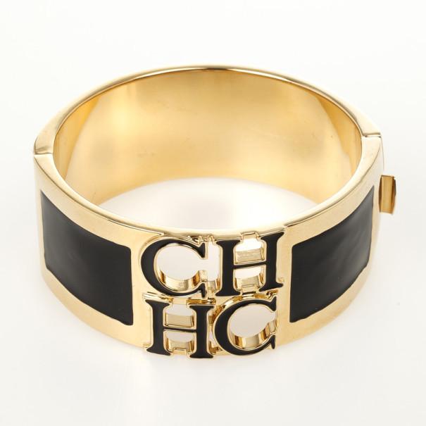Carolina Herrera CH logo Black Cuff Bracelet