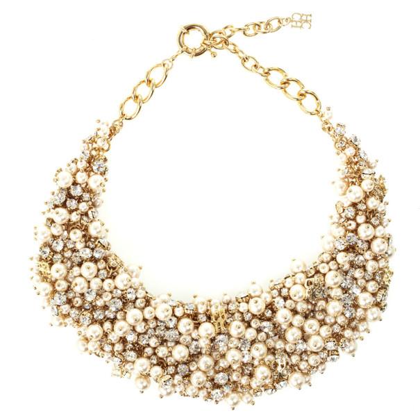 Carolina Herrera Faux Pearl Crystal Necklace