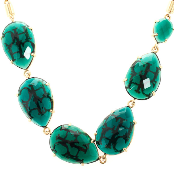 Carolina Herrera Green Chrysoprase Drops Gold Plated Necklace