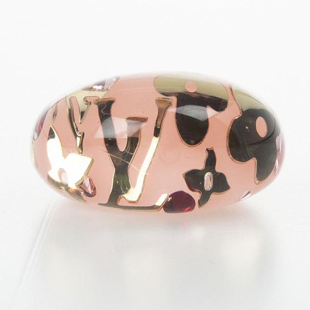 Louis Vuitton Pink Inclusion Ring Size 50