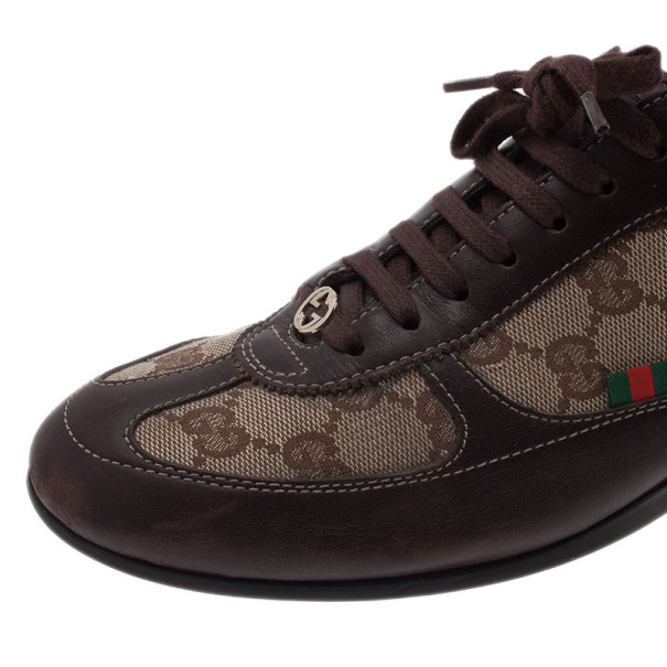 Gucci Guccissima Canvas and Leather Sneakers Size 38.5