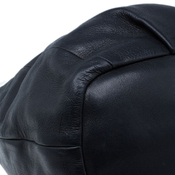 Prada Black Pebbled Leather Hobo