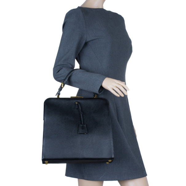 Prada Black Saffiano Leather Framed Top Handle Tote