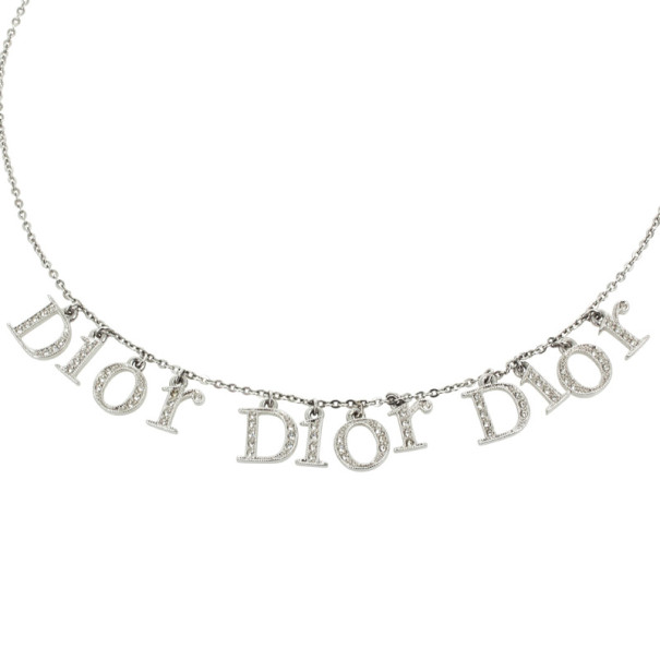 Christian Dior Signature Rhinestones Pendants Necklace