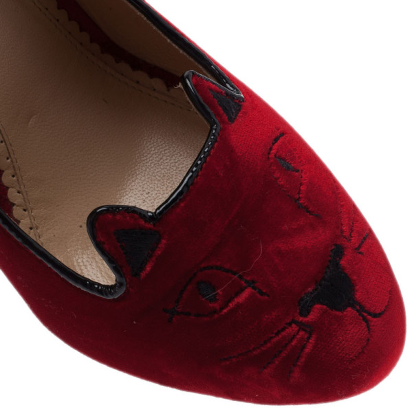 Charlotte Olympia Red Kitty Embroidered Velvet Pumps Size 39