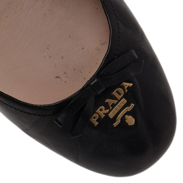 Prada Black Leather Logo Ballet Flats Size 39