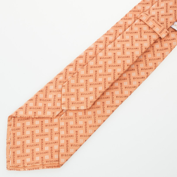 Bvlgari Orange Monogram Silk Tie