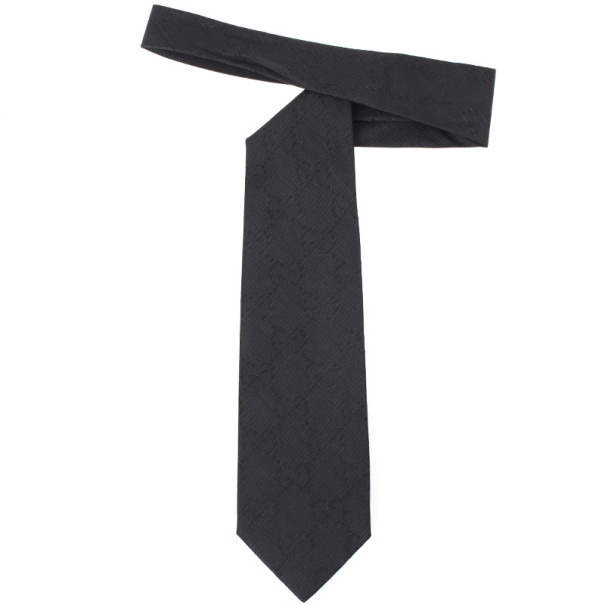 Gucci Black 'GG' Monogram Silk Tie