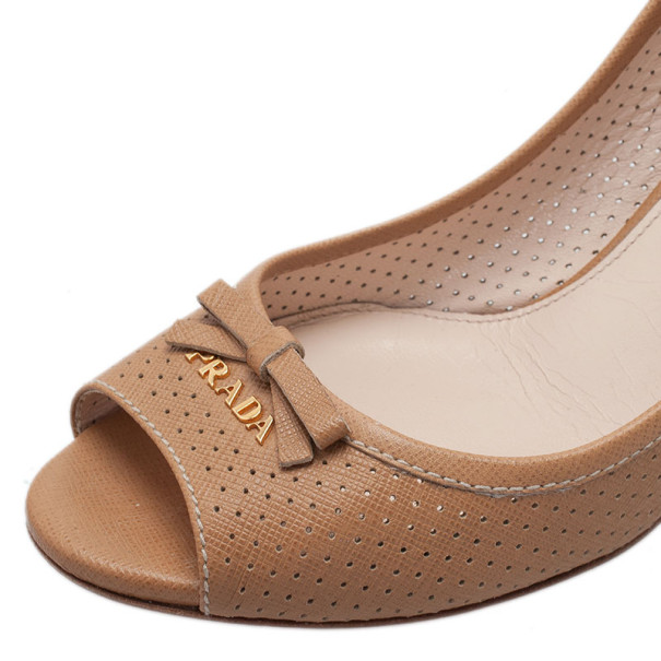 Prada Beige Perforated Saffiano Leather Peep Toe Pumps Size 38.5