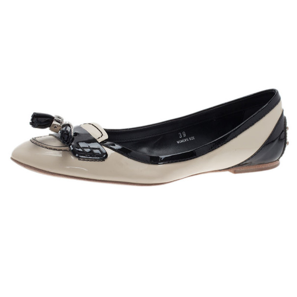 Tod's Two Tone Tassel Loafer Ballet Flats Size 39