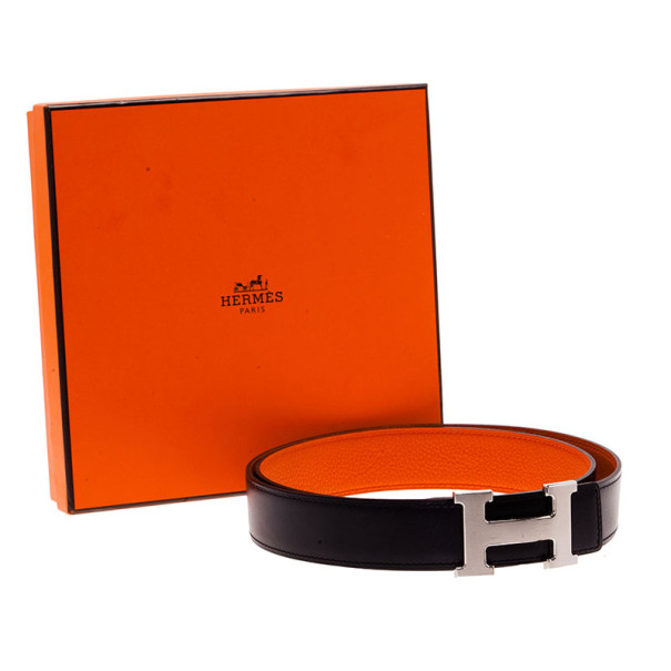 Hermes Black Leather H Logo Constance Reversible Belt 100CM