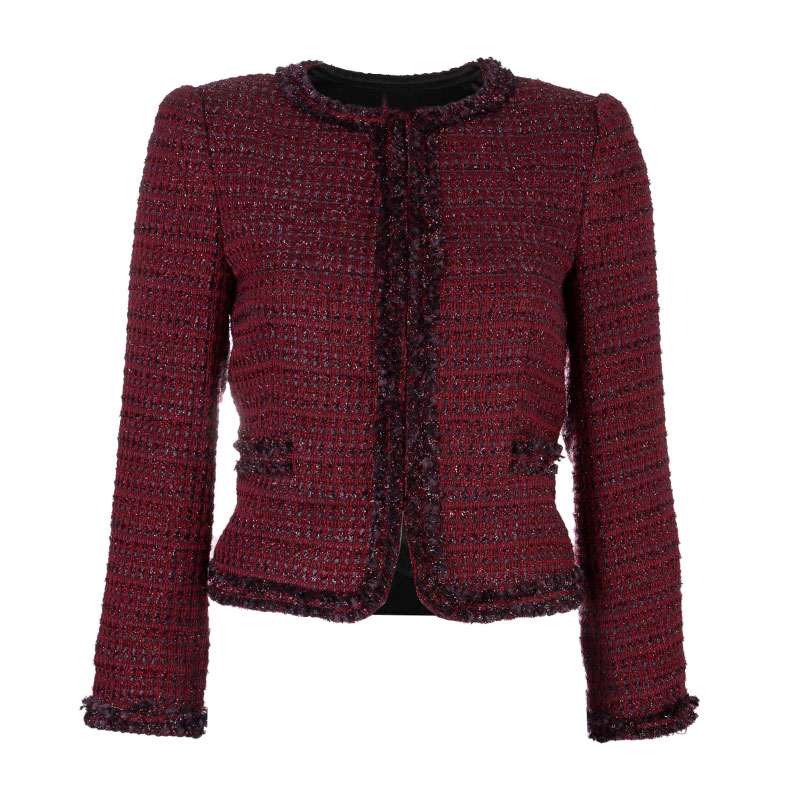 Alice + Olivia Red Tweed Blazer XS