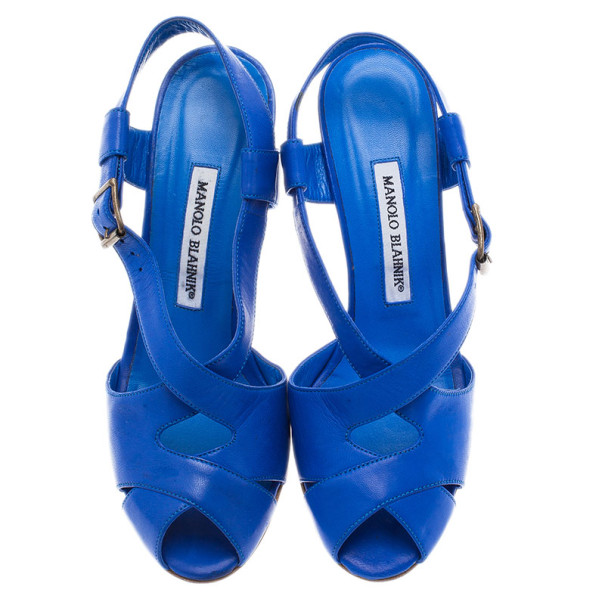 Manolo Blahnik Blue Leather Criss Cross Sandals Size 38.5