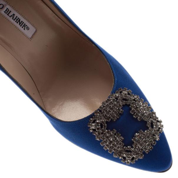 Manolo Blahnik Blue Satin Hangisi Embellished Pumps Size 39.5