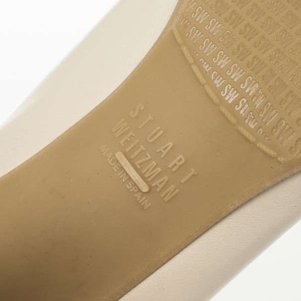 Stuart Weitzman Cream & Black Elastic Trim Easily Pumps Size 39.5